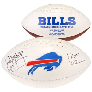 Autographed Buffalo Bills Jim Kelly White Panel Football with Inscription