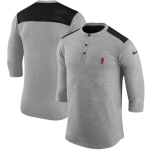 Buffalo Bills Nike Performance Henley 3/4-Sleeve T-Shirt – Heathered Gray/Black