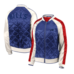 Buffalo Bills WEAR By Erin Andrews Women's Quilted Full-Zip Bomber Jacket – Royal