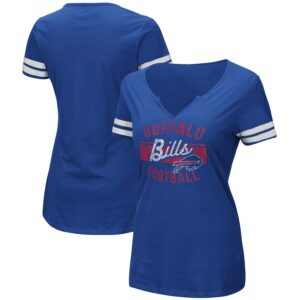 Women's Buffalo Bills Majestic Royal/White Showtime Tailgate Party Notch Neck T-Shirt