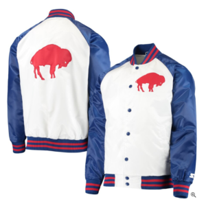 Buffalo Bills Starter Clean Up Throwback Varsity Full-Snap Jacket – White/Royal