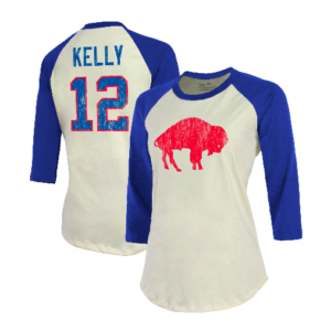 Jim Kelly Buffalo Bills Majestic Threads Women's Vintage Inspired Player Name & Number 3/4-Sleeve Raglan T-Shirt – Cream/Royal